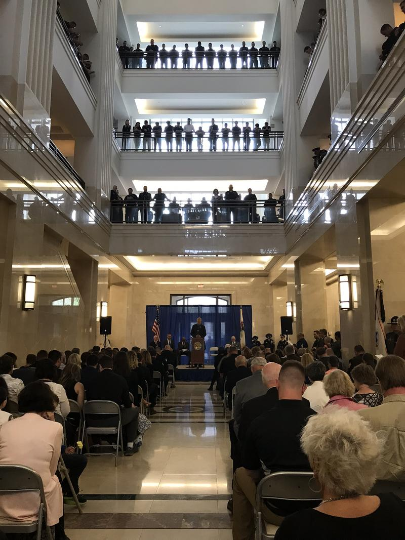 The gathered crowd for the annual Police Memorial service at the Illinois State Library on May 3.