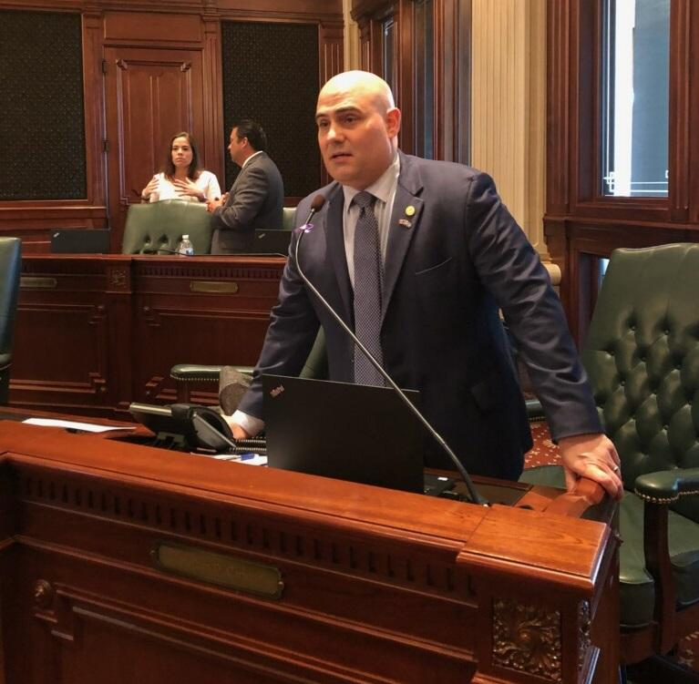 State Rep. Jonathan Carroll (D, Northbrook) on the House floor