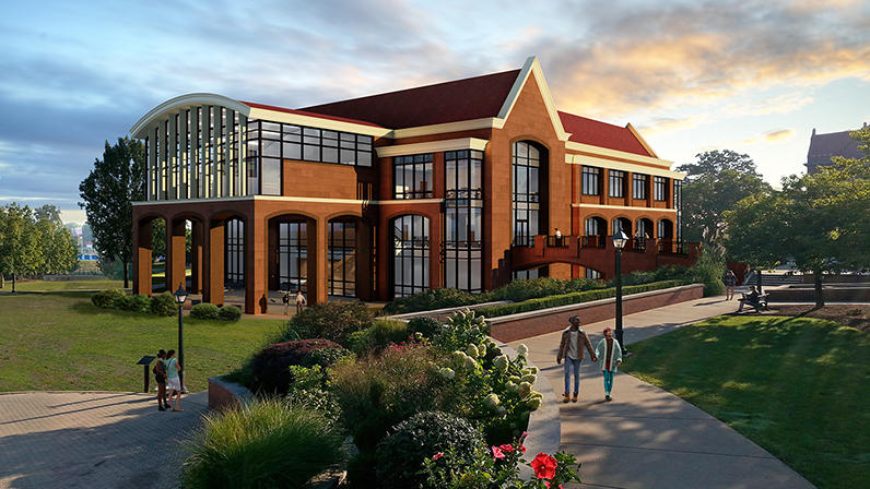 rendering of Millikin University's new Center for Theatre and Dance