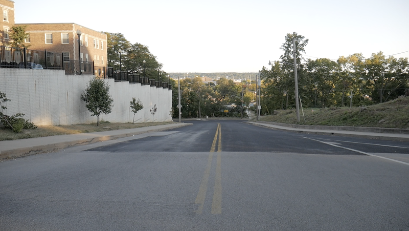 """""""The hill"""" that separates the Moss-Bradley neighborhood and the South Side of Peoria."""