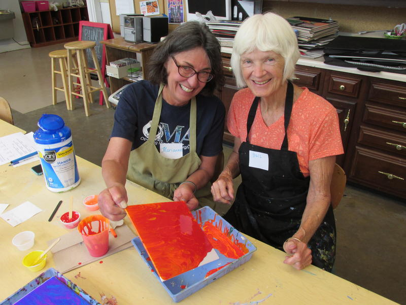 Marianne Stremsterfer (left) & Gail Record show the project they're working on together