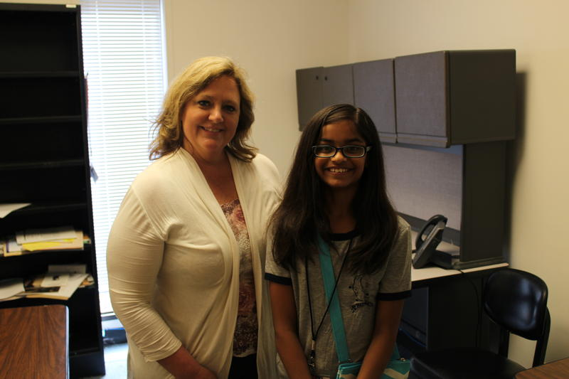 Swara Kakumani and Larissa Hansen pose for a picture after the interview.