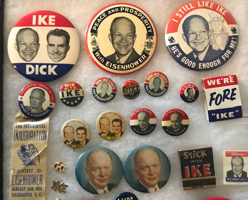 Buttons from Robert Fratkin's collection of political memorabilia, which will be on display this weekend at the American Political Items Collectors' convention in Springfield.