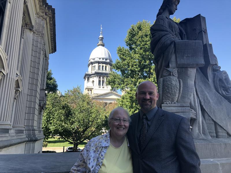 Alan Beaman with his mother at the steps of the Illinois Supreme Court in Springfield on September 13, 2018. The court heard arguments from Beaman, who is trying to sue the police who he alleges framed him in a 1993 murder.