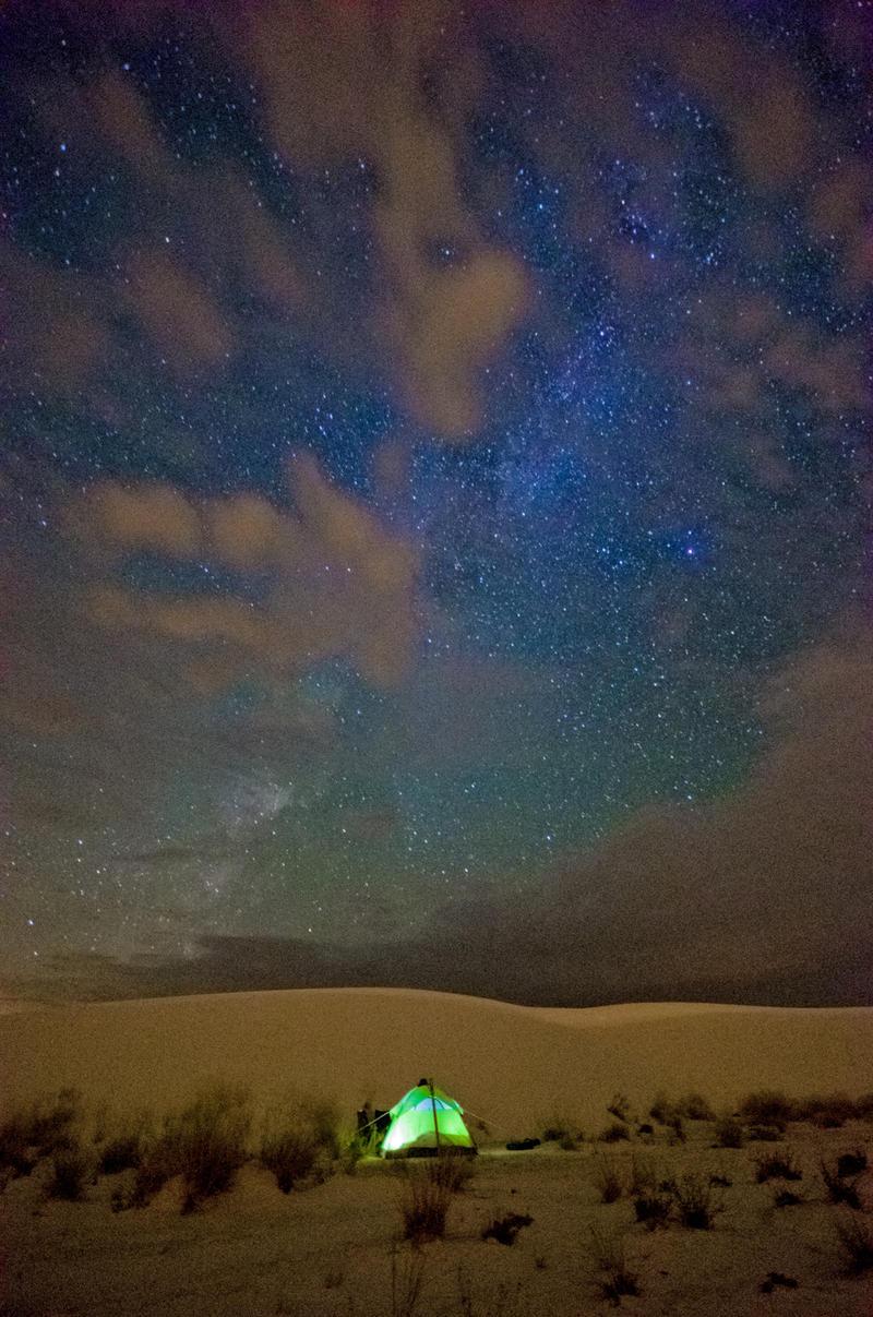Tent under the stars in the desert