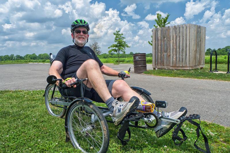 Matt Penning selfie on his recumbent tricycle.