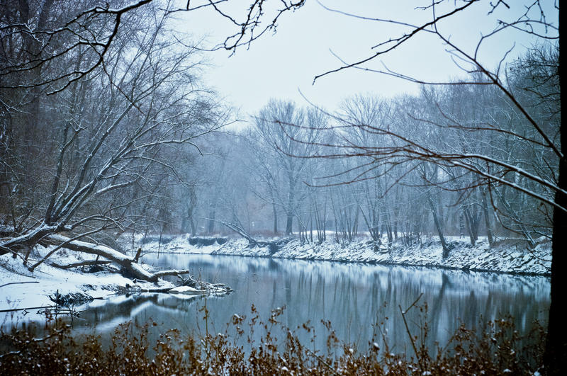 River with snow covered banks
