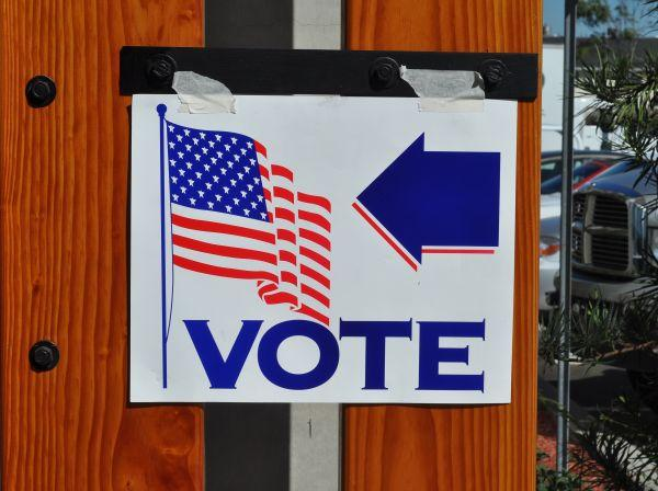 A sign guiding voters to a polling place in 2008.