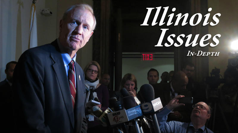 Gov, Bruce Rauner addresses reporters in 2015.