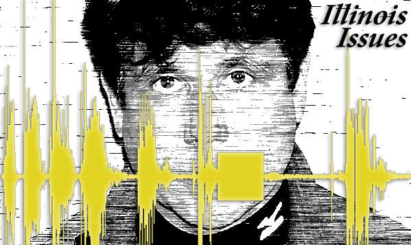 Blagojevich mugshot with wiretap waveform