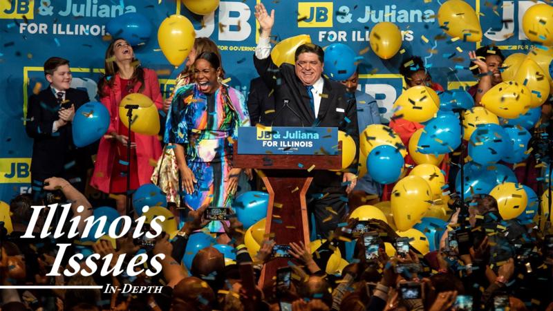 J.B. Pritzker celebrates his victory Tuesday, November 6, 2018