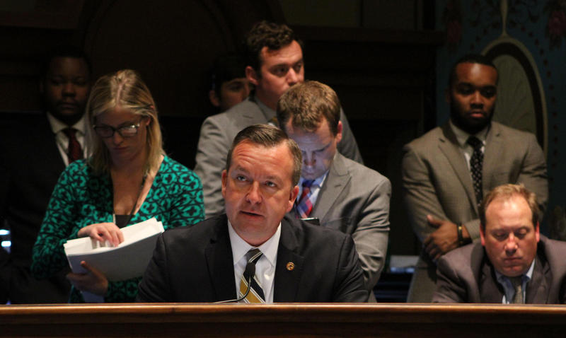 State Sen. Andy Manar (center) addressing the Senate Appropriations committee last May. The use of any state funds for a project like the one Manar proposed would have to go through that committee.