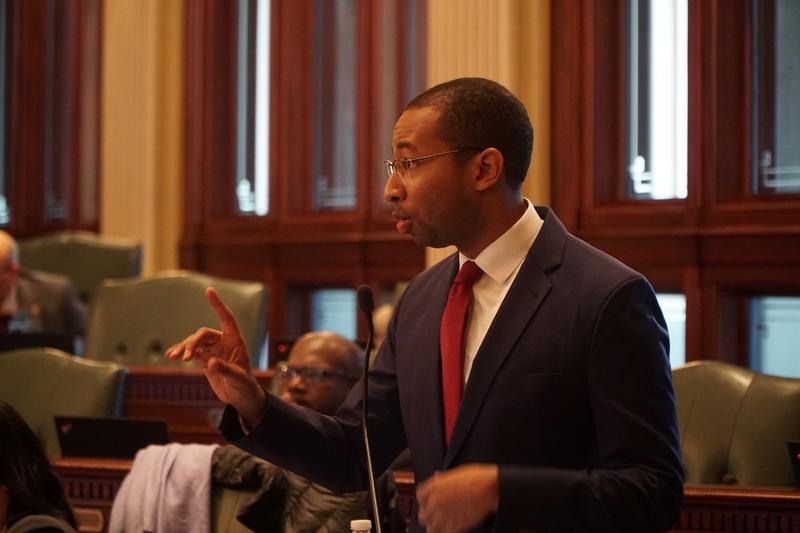 State Rep. Christian Mitchell (D, Chicago) addresses the Illinois House on Jan. 8