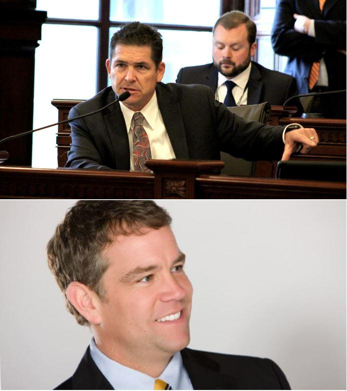 From top, State Sen. Kyle McCarter (R, Lebanon) and acting US Attorney for the Central District of Illinois John Milhiser
