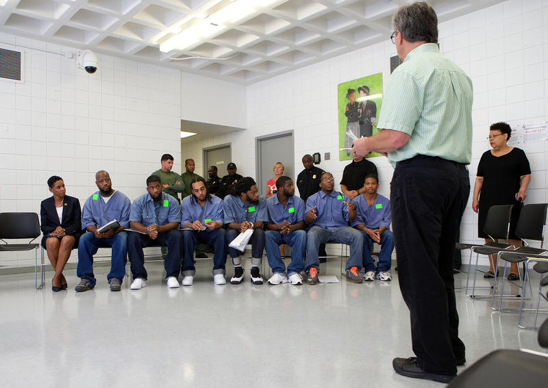 Goucher College students participate in a lecture at Maryland Correctional Institution-Jessup on July 31, 2015