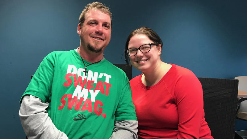 Curt Everly participates in the trauma support group that Meghan Golden, an SIU social worker, leads at Helping Hands shelter in Springfield.