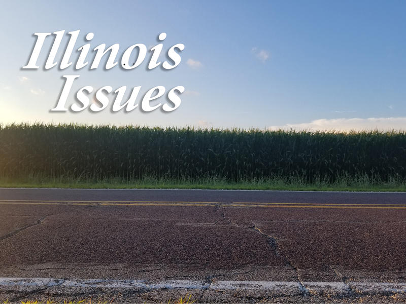 A road beside a corn field in Galesburg, Illinois.