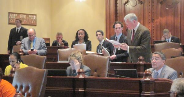 Sen. Bill Haine, D-Alton, standing at right, debates medical marijuana in the Illinois Senate.