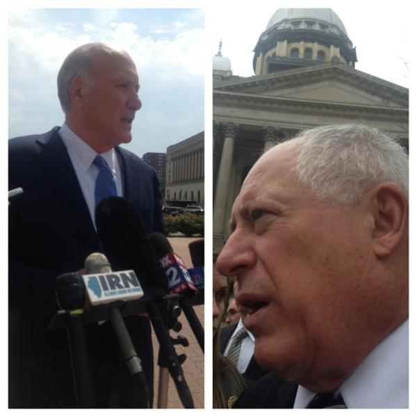 Bill Daley, on the left, is a likely primary challenger for Gov. Pat Quinn, on the right in this stitch of separate photos.