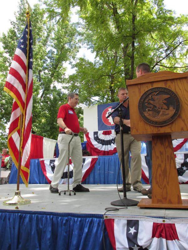 "In his first major appearance in central Illinois since his stroke in January, 2012, U.S. Sen. Mark Kirk told a crowd of Republicans at the Illinois State Fair to ""never give up."""
