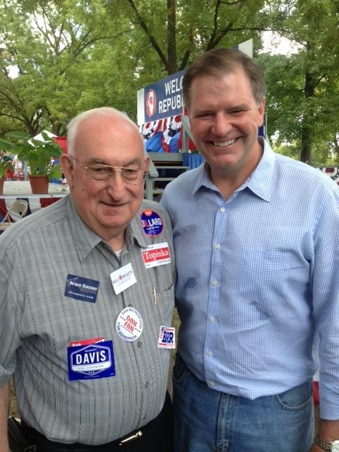 Though he hasn't decided who to support in the Republican primary race for governor, Niles Township committeeman Joe Hendrick is happy to pose with one of the candidates, Sen. Bill Brady (R-Bloomington) at GOP Day at the state fair.  Four years ago when he was Republicans' nominee for governor, Brady didn't have any say in who his running mate would be; for the first time this election gubernatorial candidates get to choose a lieutenant governor, before the primary.