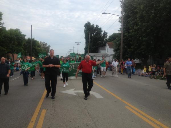 Gov. Pat Quinn leads his supporters at the 2013 Twilight Parade on Springfield's North side, kicking off the state fair.