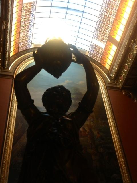 "Illinois' capitol was designed in the late 1800s. Critics are upset about the money spent  restoring the statehouse to what architect J. Richard Alsop III calls its ""period of historic significance,"" with fixtures like this statue of a maiden – which cost approximately $40,000."