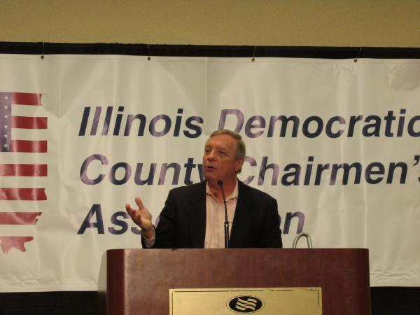 U.S. Senator Dick Durbin speaks at a previous meeting of leading Democrats - the party's county chairmen - in Springfield this summer. Durbin, who's running for re-election, is expected to attend Sunday's meeting of the Democratic State Central Committee in Springfield.  He faces no primary challenge.