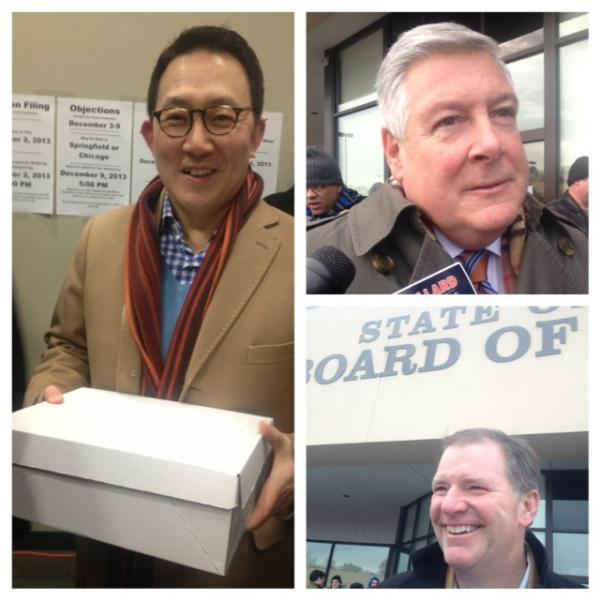 Republicans, including (from left) Tres. Dan Rutherford's running mate Steve Kim, Sen. Kirk Dillard and Sen. Bill Brady - both of whom are running for governor - stood in line to file their elections paperwork late last year.