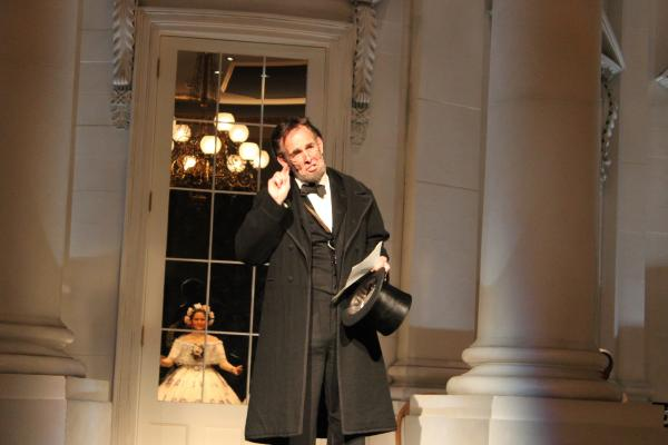 Lincoln impersonator Fritz KIein reenacts the Gettysburg Address; he started giving the 272-word speech promptly at midnight at the Abraham Lincoln Presidential Museum.