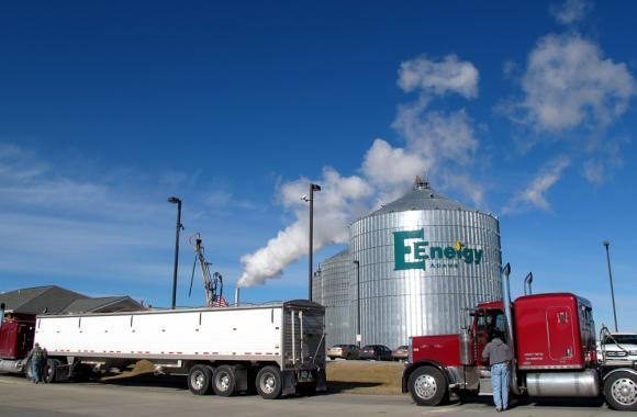 E Energy in Adams, Neb., takes in corn from local farms to make 65 million gallons of ethanol each year. The company also make distillers grains from the corn, which is used to feed livestock; corn oil which can be made into biodiesel; and CO2 which is used in soft drinks.