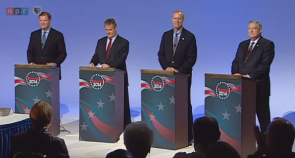Republican candidates for Governor during a recent debate.  (L-R) Bill Brady, Dan Rutherford, Bruce Rauner and Kirk Dillard.