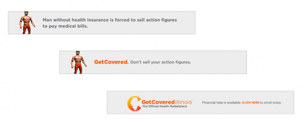 This banner ad would flash across a screen in a .gif style. The campaign is a partnership between Get Covered Illinois and satire website The Onion.