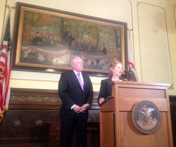 Illinois Department of Transportation Secretary Ann Schneider announces an $8.6 billion, six-year transportation construction program, with Gov. Pat Quinn at her side.