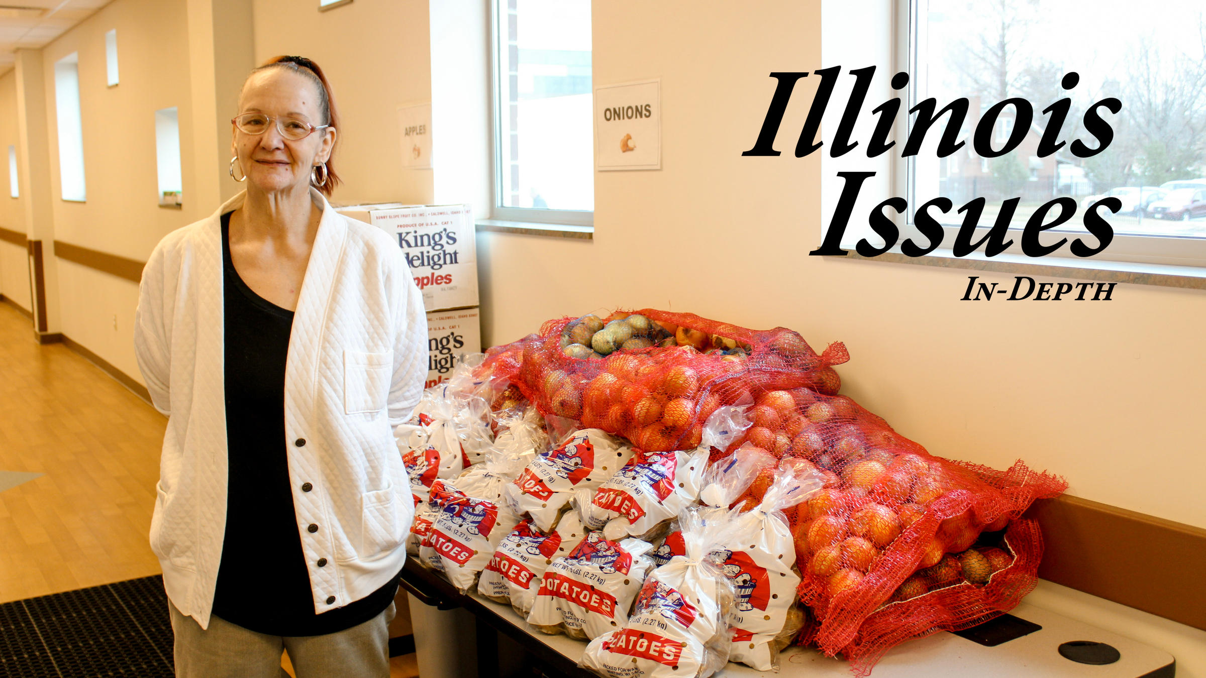 Susan Stolkes A Springfield Resident Stands In Front Of Fresh Produce Being Offered January At The Central Counties Health Centers Food Pantry