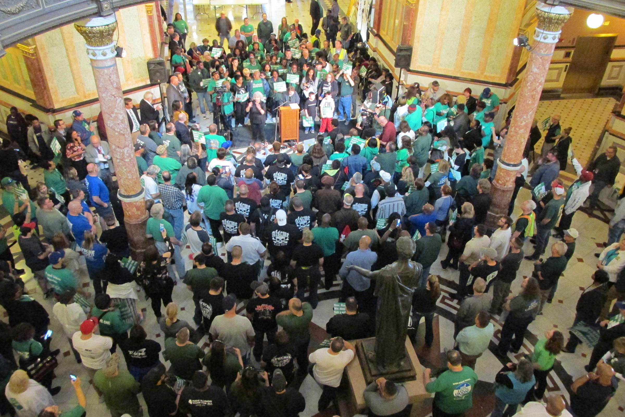 State Workers From Labor Union AFSCME Rally At The Illinois State Capitol  In April 2018.