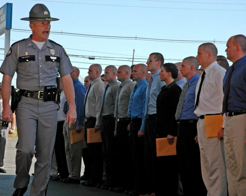 Lt. Bobby Day, assistant commander of the Kentucky State Police Academy, gives cadets their initial instructions