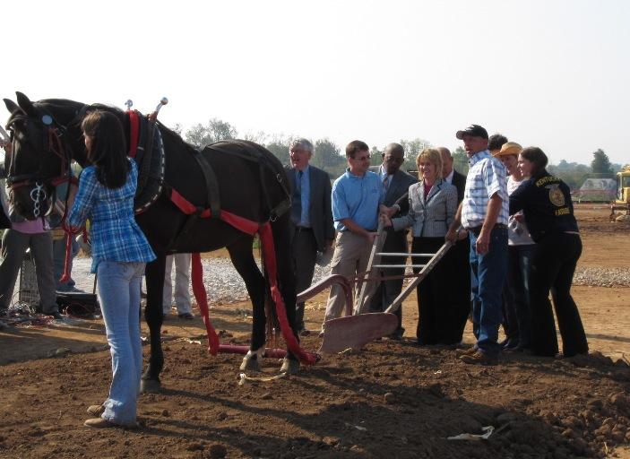 Instead of using shovels, school officials broke ground at the Locust Trace AgriScience Farm using a horse and plow.