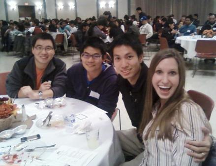 Michael and Jacqueline Chen hang out with friends at UK's annual Multicultural Thanksgiving Dinner.