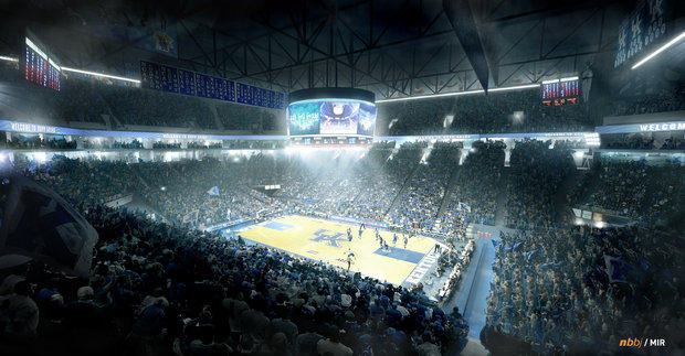 Proposed interior of a renovated Rupp Arena. Courtesy Space Group.