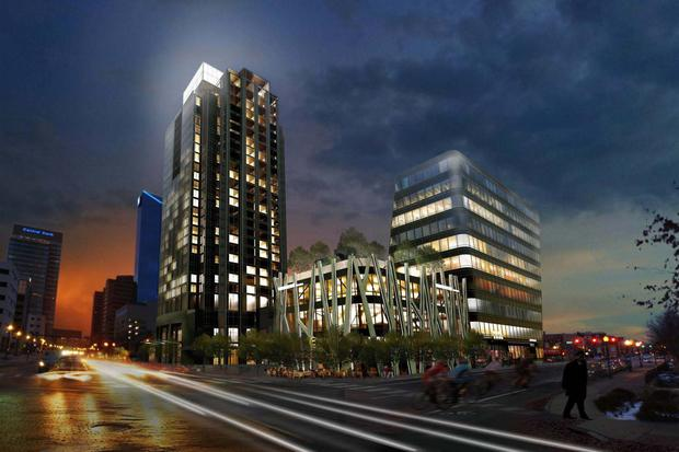 Proposed CentrePointe design from the corner of Vine St & Limestone St