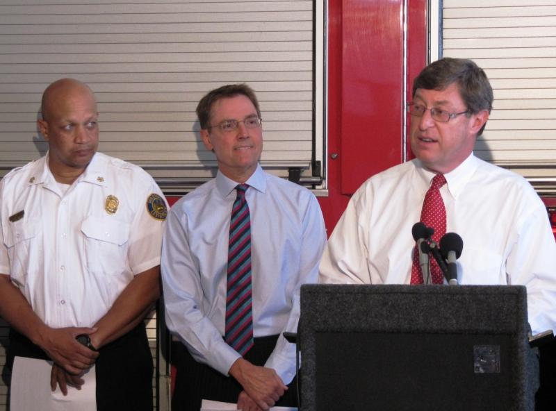 Congressman Ben Chandler (right) announced the grant Tuesday alongside Lexington Mayor Jim Gray (center) and fire Chief Keith Jackson