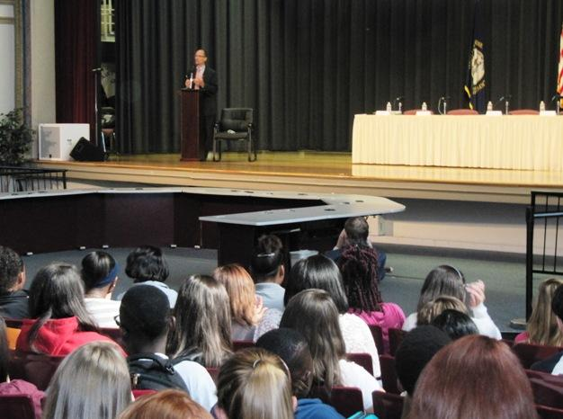 Thomas Perez talks to high school freshmen about bullying.