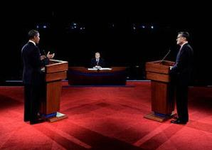 First Debate Between President Obama and Republican Challenger Mitt Romney
