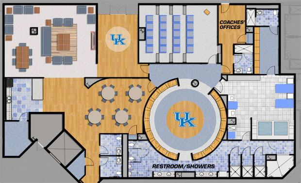 Layout of the new UK men's basketball locker room. Courtesy CoachCal.com