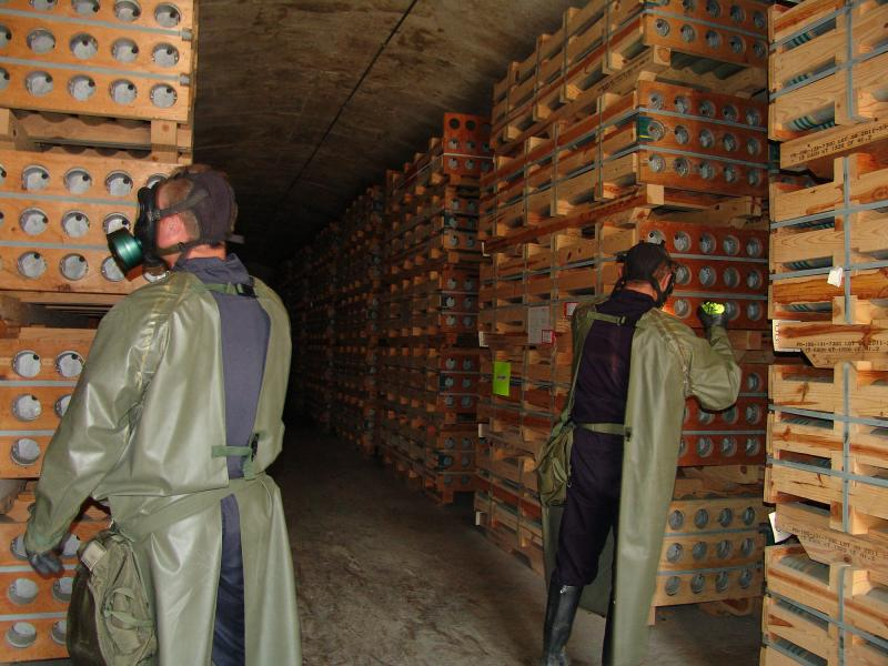 Toxic Chemical Workers monitor the weapons stored at Bluegrass Army Depot - Photo courtesy Bluegrass Army Depot