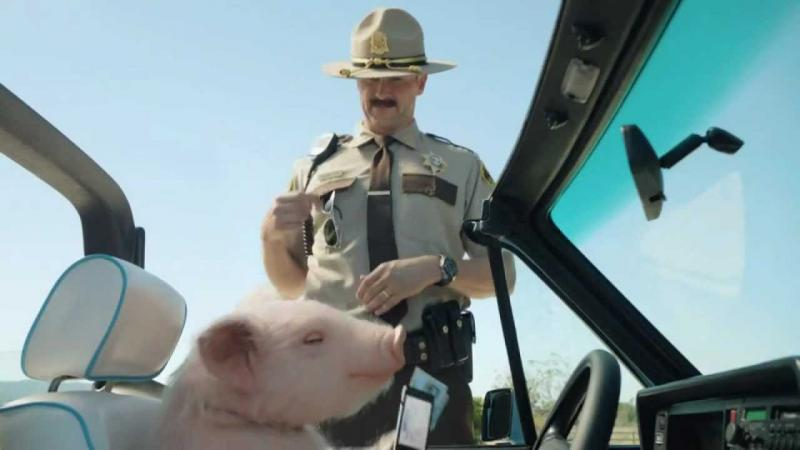 Maxwell the GEICO pig uses his smart phone to show proof of insurance.