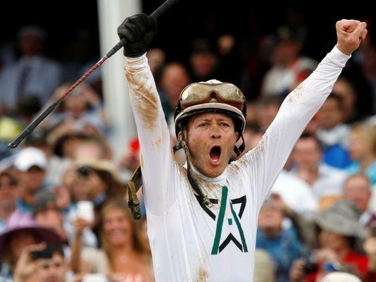 Calvin Borel reacts after winning the 2010 Kentucky Derby aboard Winstar Farms' Super Saver. - photo by Ed Reinke/AP