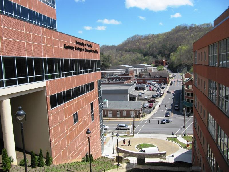 A view of downtown from the UPike campus. The new medical school building, called The Coal Building, is on the left.