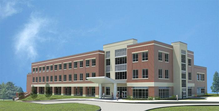 A rendering of the new classroom building at BCTC's Newtown Pike campus